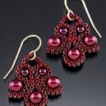 Red Scroll Earrings